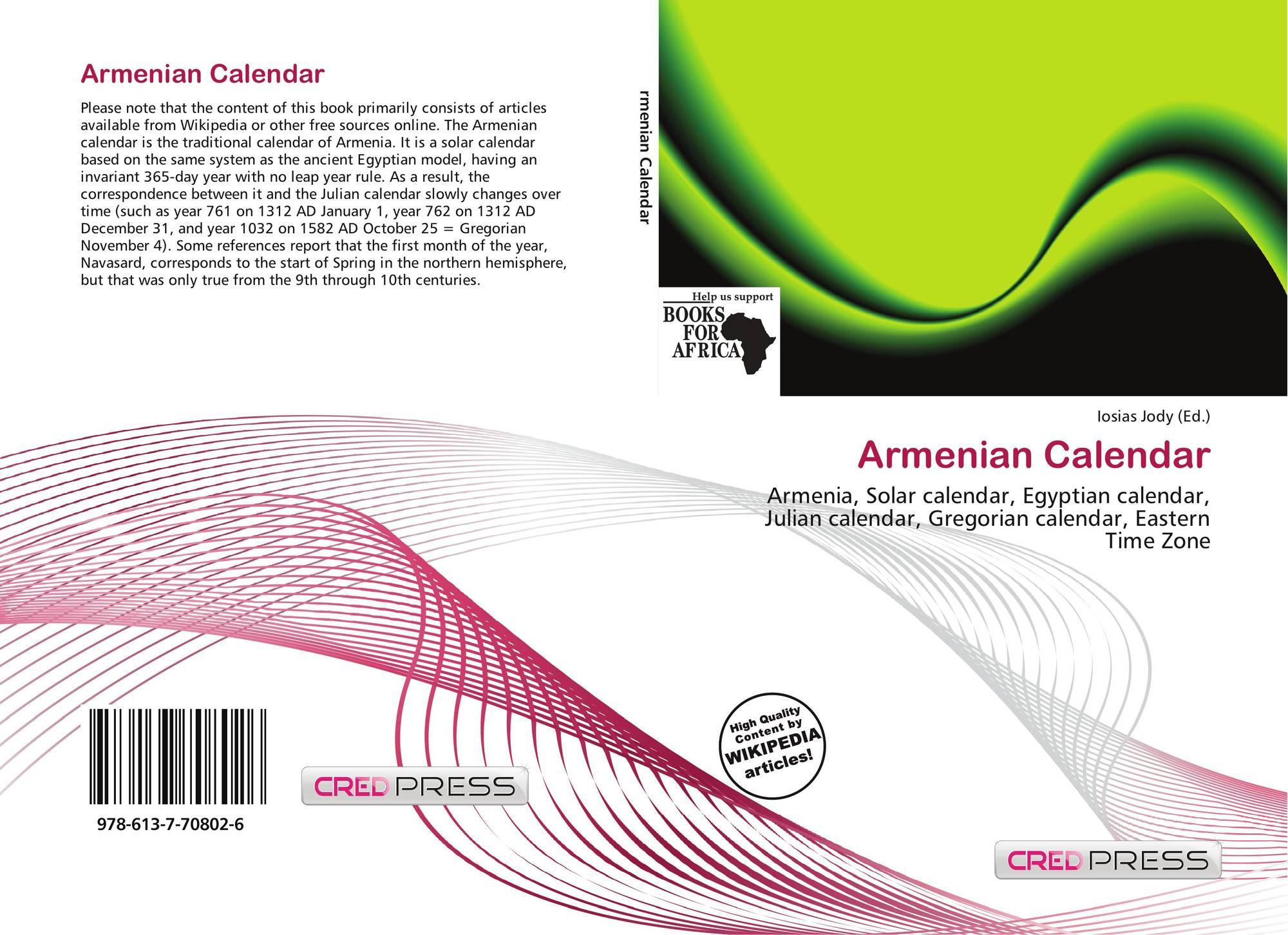 Armenian Calendar, 978-613-7-70802-6, 6137708020 ,9786137708026