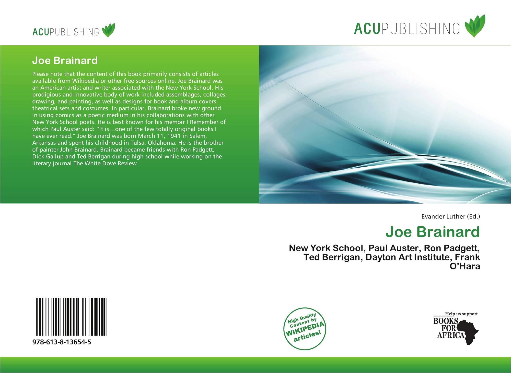 Pleasing Joe Brainard 978 613 8 13654 5 6138136543 9786138136545 Interior Design Ideas Skatsoteloinfo