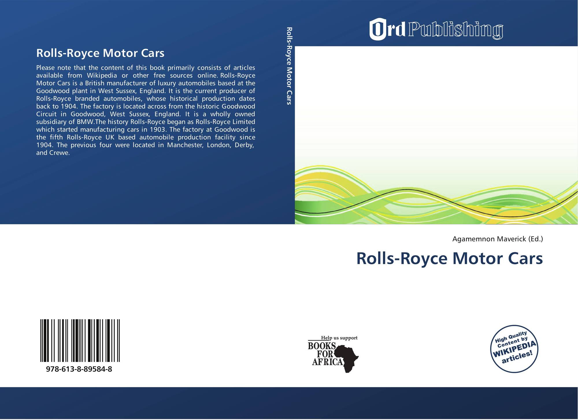 Rolls Royce Motor Cars 978 613 8 89584 8 6138895843