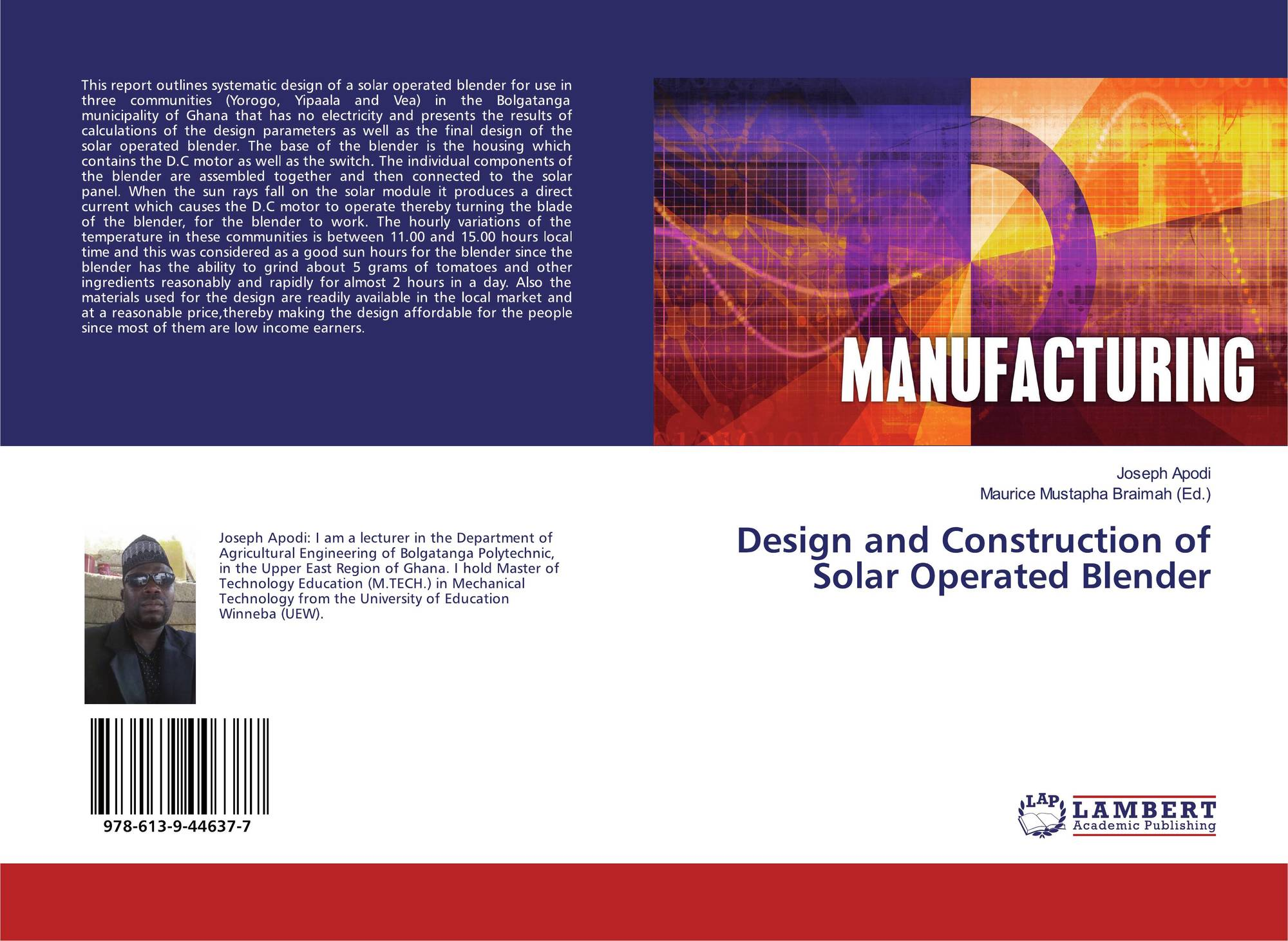 Design and Construction of Solar Operated Blender, 978-613-9