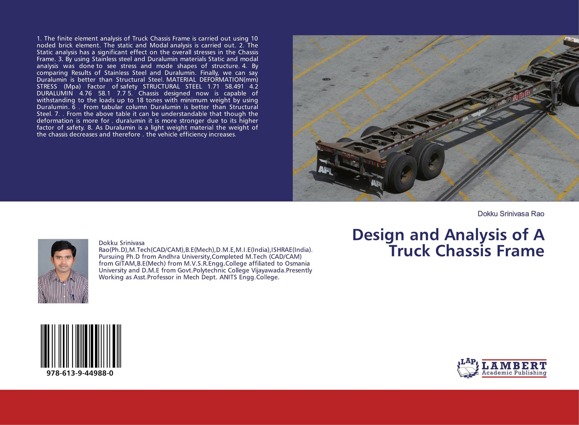 Design and Analysis of A Truck Chassis Frame, 978-613-9