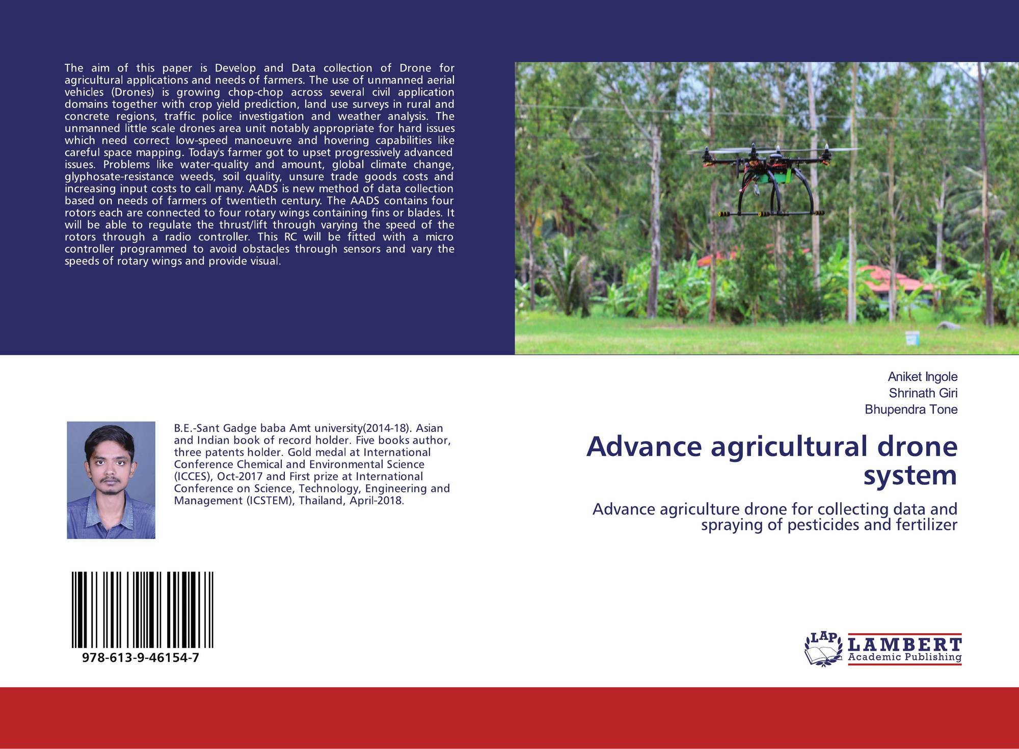 Advance agricultural drone system, 978-613-9-46154-7, 6139461545