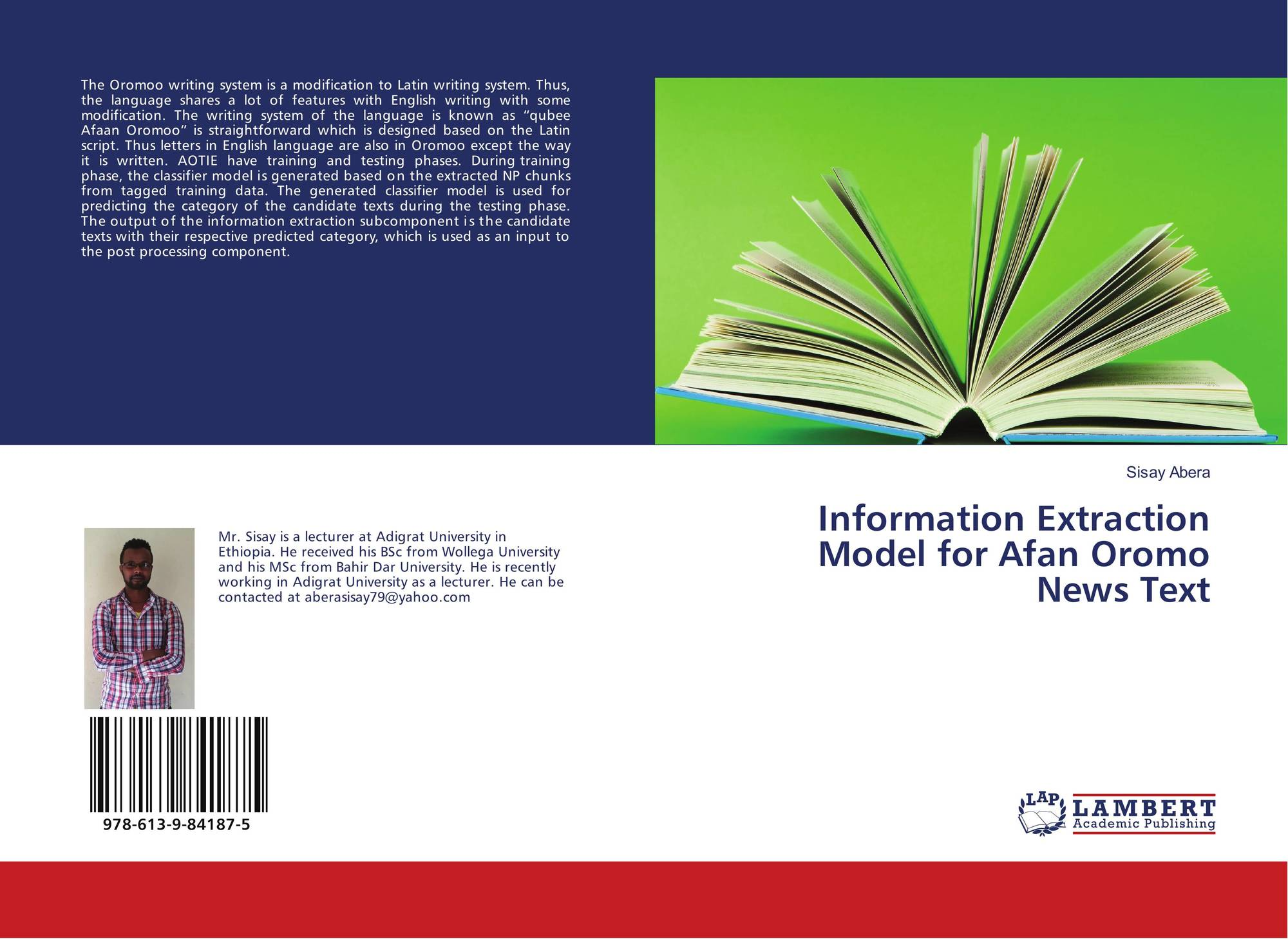 Information Extraction Model for Afan Oromo News Text, 978-613-9