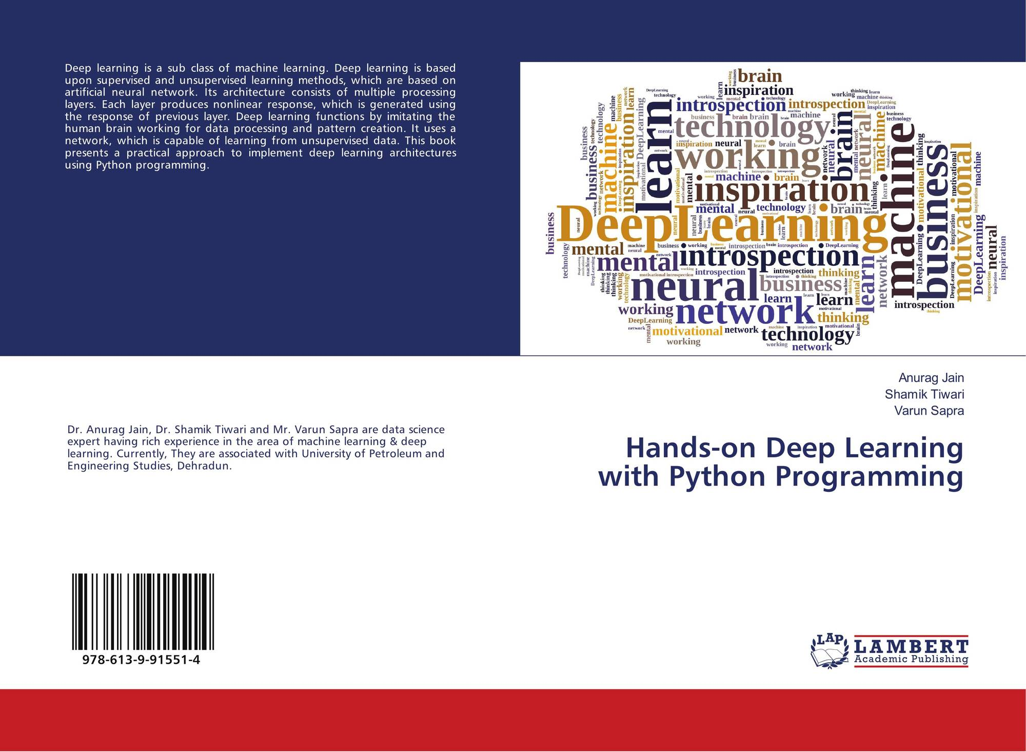 Hands-on Deep Learning with Python Programming, 978-613-9-91551-4