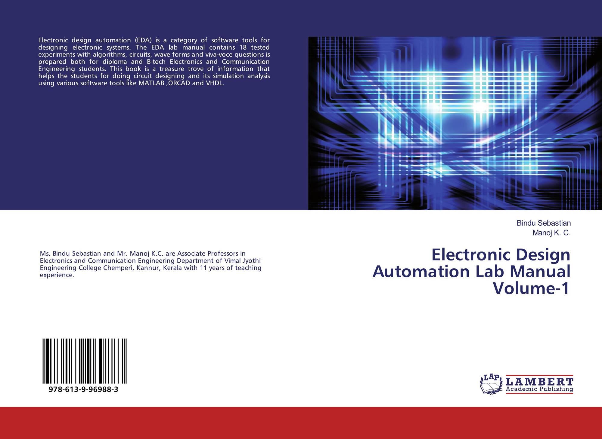 electronic design automation lab manual volume 1, 978 613 9 96988 3electronic design automation lab manual volume 1