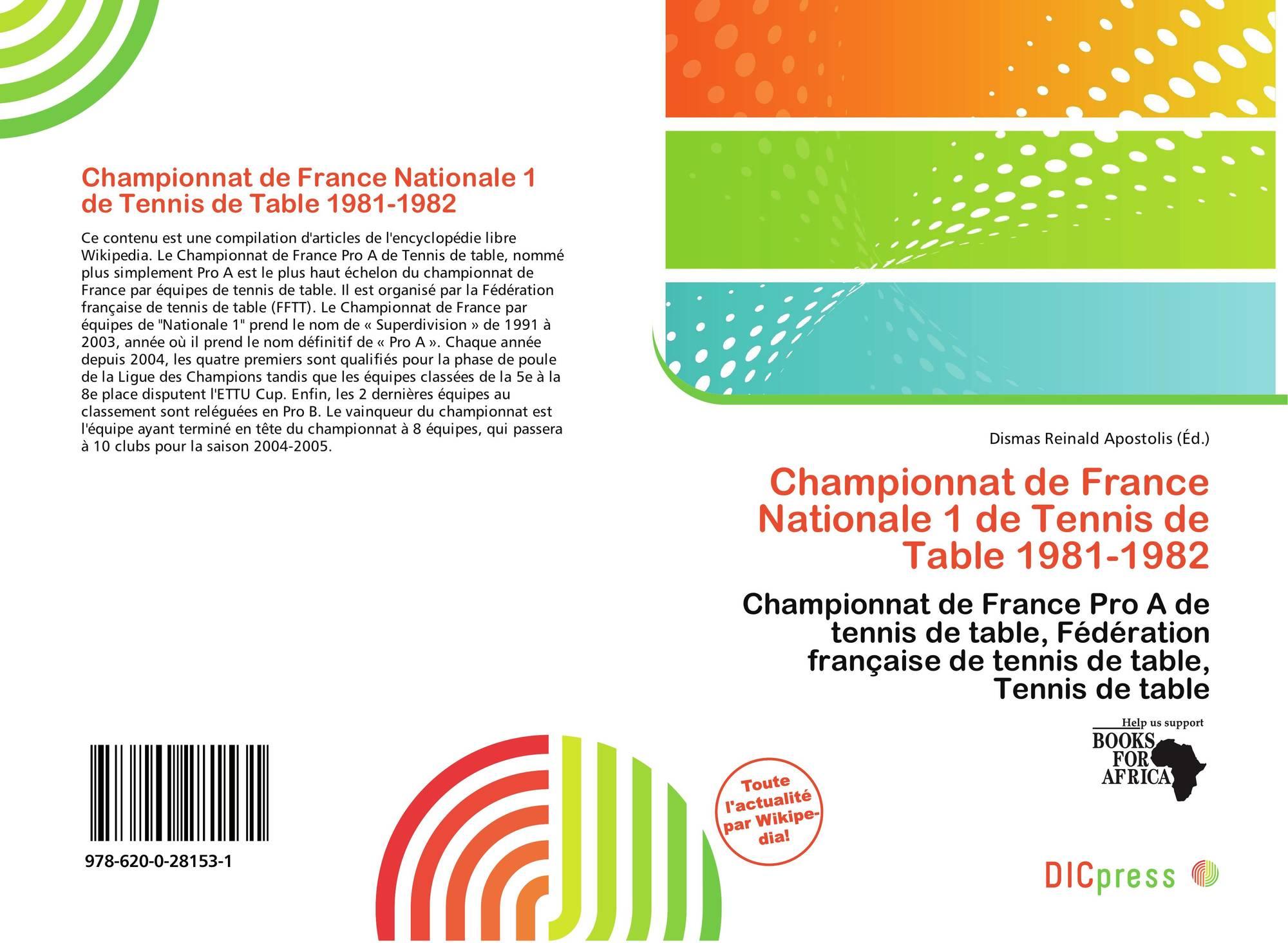 Championnat De France Nationale 1 De Tennis De Table 1981 1982
