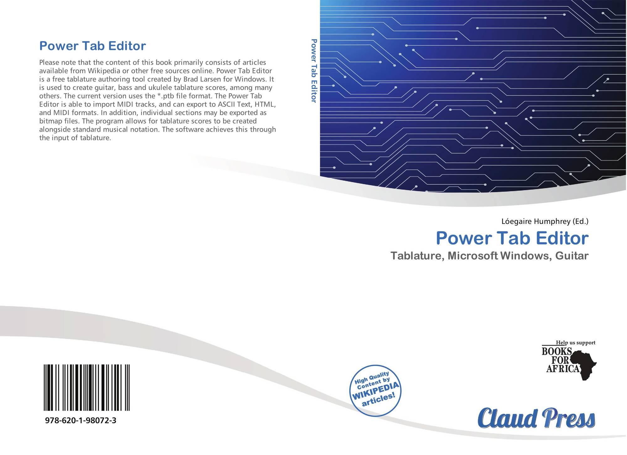 Power Tab Editor, 978-620-1-98072-3, 6201980725 ,9786201980723