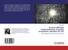 Bookcover of A more effective implementation of public innovation subsidies for YIC