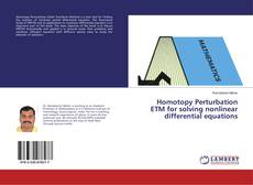 Homotopy Perturbation ETM for solving nonlinear differential equations的封面