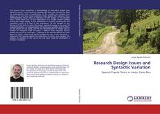 Bookcover of Research Design Issues and Syntactic Variation