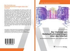 Bookcover of Der Vertrieb von Hotelaufnahmeverträgen über das Internet