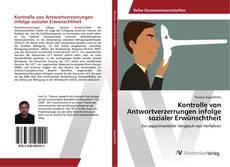 Buchcover von Kontrolle von Antwortverzerrungen infolge sozialer Erwünschtheit