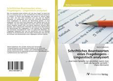 Buchcover von Schriftliches Beantworten eines Fragebogens - Linguistisch analysiert