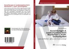 Bookcover of Auswirkungen d. Lesekompetenz beim Bearbeiten v. math. Sachaufgaben