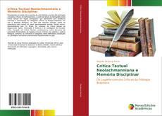 Crítica Textual Neolachmanniana e Memória Disciplinar