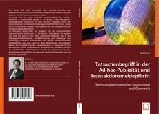 Bookcover of Tatsachenbegriff in der Ad-hoc-Publizität und Transaktionsmeldepflicht