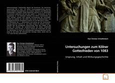 Portada del libro de Untersuchungen zum Kölner Gottesfrieden von 1083