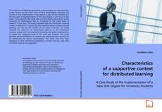 Bookcover of Characteristics of a supportive context for distributed learning