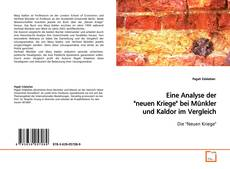 """Portada del libro de Eine Analyse der """"neuen Kriege"""" bei Münkler und Kaldor im Vergleich."""