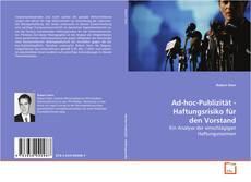 Bookcover of Ad-hoc-Publizität - Haftungsrisiko für den Vorstand