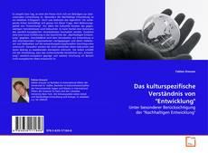 """Bookcover of Das kulturspezifische Verständnis von """"Entwicklung"""""""