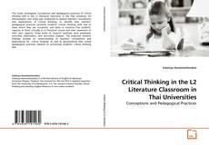 Portada del libro de Critical Thinking in the L2 Literature Classroom in Thai Universities