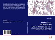 Bookcover of Förderungen im Bereich der Unternehmensgründung