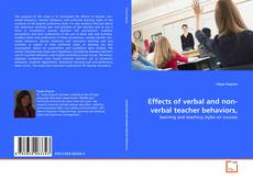 Couverture de Effects of verbal and non-verbal teacher behaviors,
