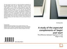 Capa do livro de A study of the aspecutal complements of 'begin' and 'start'