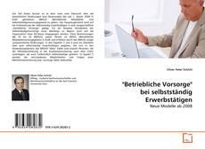 """Buchcover von """"Betriebliche Vorsorge"""" bei selbstständig Erwerbstätigen"""