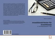 Investitionskriterien für Investitionen的封面