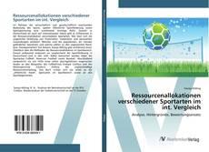 Bookcover of Ressourcenallokationen verschiedener Sportarten im int. Vergleich