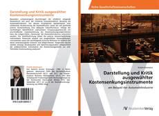 Buchcover von Darstellung und Kritik ausgewählter Kostensenkungsinstrumente