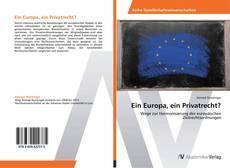 Capa do livro de Ein Europa, ein Privatrecht?