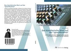 """Capa do livro de Das künstlerische Wort auf der """"sprechbuehne"""""""