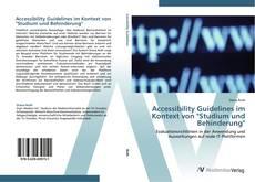 """Couverture de Accessibility Guidelines im Kontext von """"Studium und Behinderung"""""""