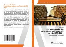 Das neue Recht der Hauptversammlung nach dem AktRÄG 2009 kitap kapağı