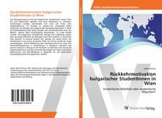 Capa do livro de Rückkehrmotivation bulgarischer StudentInnen in Wien