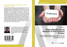 Capa do livro de Corpus-Based Lexical Analysis of the Europarl Corpus