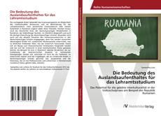 Bookcover of Die Bedeutung des Auslandsaufenthaltes für das Lehramtsstudium