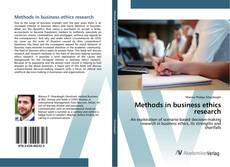 Copertina di Methods in business ethics research