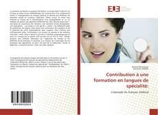 Couverture de Contribution à une formation en langues de spécialité:
