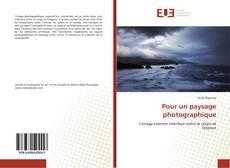 Pour un paysage photographique kitap kapağı
