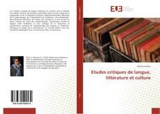 Capa do livro de Etudes critiques de langue, littérature et culture
