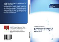Buchcover von Managerial Effectiveness Of Vice-chancellors In Nigerian Universities