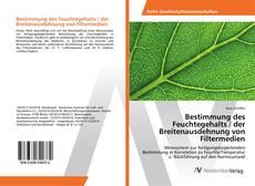 Buchcover von Bestimmung des Feuchtegehalts / der Breitenausdehnung von Filtermedien