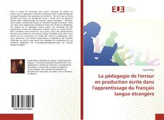Capa do livro de La pédagogie de l'erreur en production écrite dans l'apprentissage du français langue étrangère