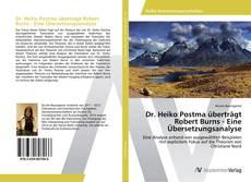 Borítókép a  Dr. Heiko Postma überträgt Robert Burns - Eine Übersetzungsanalyse - hoz