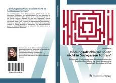 """Capa do livro de """"Bildungsabschlüsse sollen nicht in Sackgassen führen"""""""