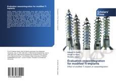 Обложка Evaluation osseointegration for modified Ti implants